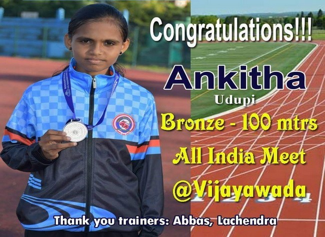 Ankitha Devadiga Bags 3rd Place in 100mts Race at All India Athletics Meet